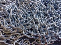 Metal chain iron texture background, chrome strong protect. Lots of metal chain steel material industrial protection object royalty free stock photography