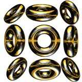 3D circle / ring. Lots of metallic solid  3d circle / ring Stock Images