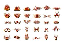 Lots of metallic style flames. Metallic style illustrations of flames and similar shapes Stock Photos