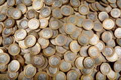 LOTS OF MEXICAN COINS HORIZONTAL Royalty Free Stock Photography