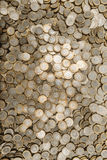 LOTS OF MEXICAN COINS Vertical.  royalty free stock photo