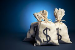 Bags full of money on a blue background Royalty Free Stock Photos