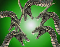 Lots On Monster Snakes 2. An image of a set scary snake like monsters, would be good for fear and Halloween concepts royalty free illustration