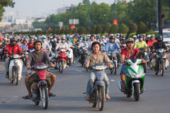 Lots of motorbikers in Saigon city, Vietnam Royalty Free Stock Photography