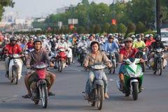 Lots of motorbikers in Saigon city, Vietnam Royalty Free Stock Photography