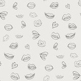 Black and white pattern with lips. stock illustration