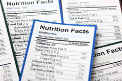 Lots of Nutrition facts Stock Photography