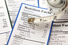 Lots of nutrition facts with tape measure. Close-up Royalty Free Stock Photography
