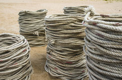 Lots of nylon rope Stock Photo