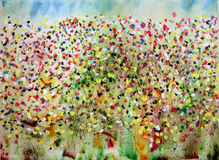 Lots O Flowers. Abstract watercolor and gouache floral painting stock illustration
