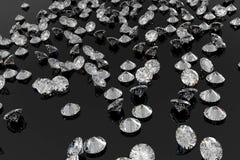 Lots Of Diamonds On A Shiny Black Background Royalty Free Stock Image