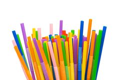 Lots Of Drinking Straws Isolated On White Stock Photo