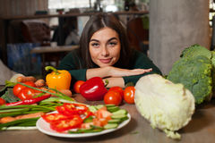 Lots Of Vegetables And Woman Stock Image