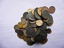 Lots of old copper coins for resvavration. stock image