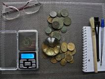 Lots of old copper coins for resvavration. royalty free stock photo