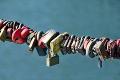Lots of old rust with wedding locks Royalty Free Stock Image