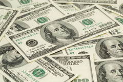 Lots of one hundred dollar banknotes, background Stock Photos