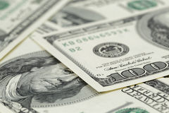 Lots of one hundred dollar banknotes, background Royalty Free Stock Photos