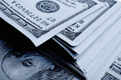 Lots of one hundred of dollar bills. Royalty Free Stock Photos