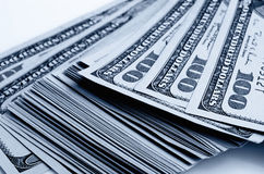 Lots of one hundred of dollar bills. Stock Image