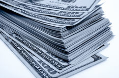 Lots of one hundred of dollar bills. Royalty Free Stock Images