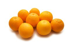 Lots of oranges isolated. On the white Royalty Free Stock Image