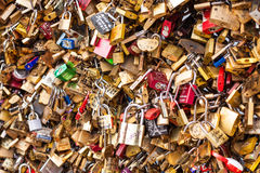 Lots of Padlocks On Bridge over the Seine, Paris France, symbolizing Love and Trust Stock Photography