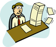lots of paper work in office vector illustration Royalty Free Stock Photo