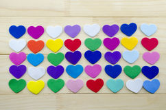 Lots of papper hearts on a table Royalty Free Stock Photography