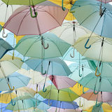 Lots of pastel colored umbrella Royalty Free Stock Images