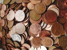 Lots of pennies. Lots pennies coins copper one pennce two currency british queen stock photos