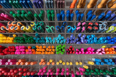 Lots of pens, top view Stock Photo