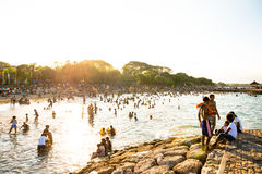 Lots of people on the beach in Sanur Stock Images