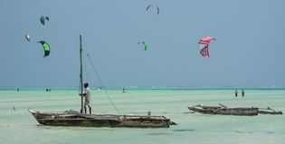Many people go Kitesurfing on Zanzibar. Tanzania stock photography