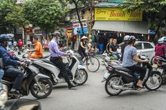 Traffic in the Old Quarter, Hanoi, Vietnam royalty free stock images