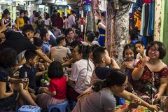 Lots of people in outdoor restaurants, Hanoi, Vietnam stock photo
