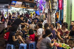Lots of people in outdoor restaurants, Hanoi, Vietnam stock photos