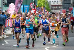 Lots of people running in London Marathon. London, UK Stock Photography