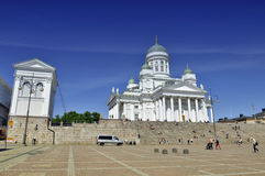 Lots of people visiting Helsinki Cathedral Royalty Free Stock Photo
