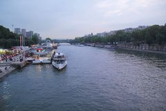 Paris, French - August 26,2017: Beautiful night scene on the Seine river stock images