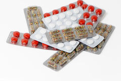 Lots of pills packages Stock Photo