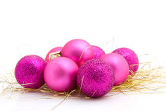 Lots of pink christmas balls Stock Photography
