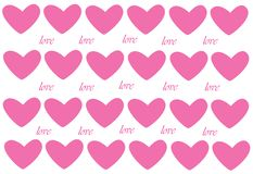 Pink hearts and love lettering on white background royalty free stock photography