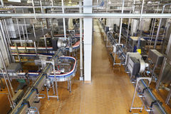 Lots of pipes and conveyers in large factory Stock Images