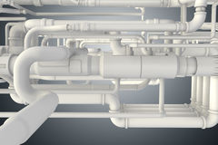 The lots of piping at the plant 3d rendering Stock Photo