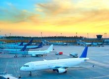 Lots of planes at airport Royalty Free Stock Photos