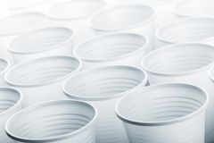 Lots of plastic drinking glasses Stock Photography