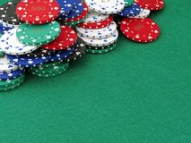 Lots of poker chips & copy space Stock Photo