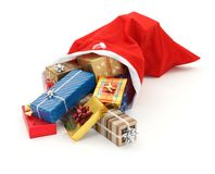 Lots of presents pouring from Santa bag Royalty Free Stock Photos