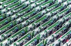 Lots of Printed Circuit Boards With Mounted and Soldered Compone Stock Images